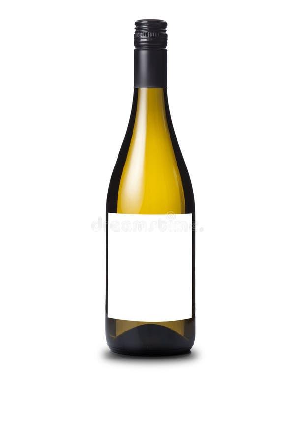没有标签的白葡萄酒瓶 库存图片