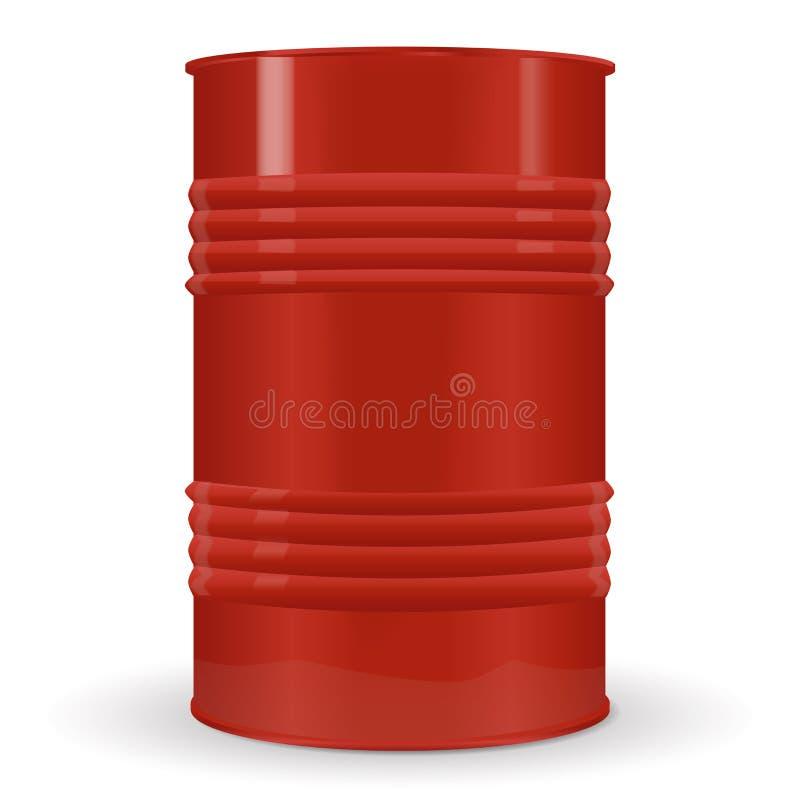 没有标签的红色金属桶 库存例证