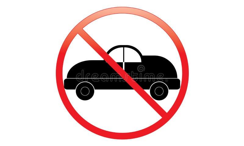 没有汽车象-禁止停车范Symbol -没有旅行的车-禁止停车汽车象,被隔绝 平的设计 库存例证