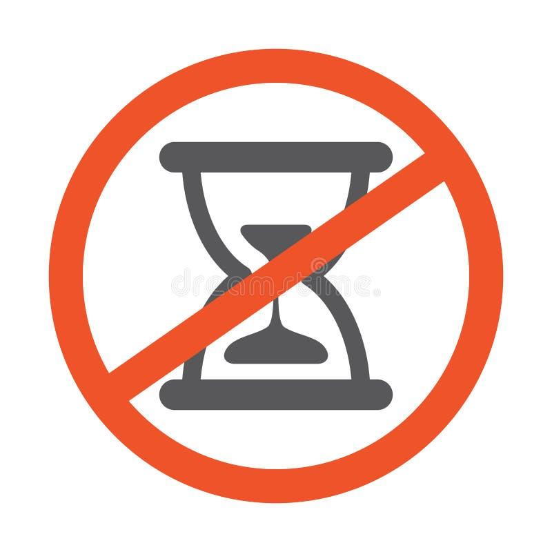 没有滴漏标志设计例证 与沙子在白色背景隔绝的时钟象的禁止的标志 线路红色 向量例证