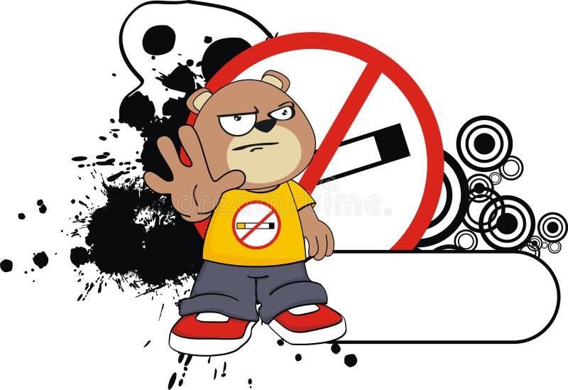 没有烟滑稽的玩具熊动画片贴纸 库存例证