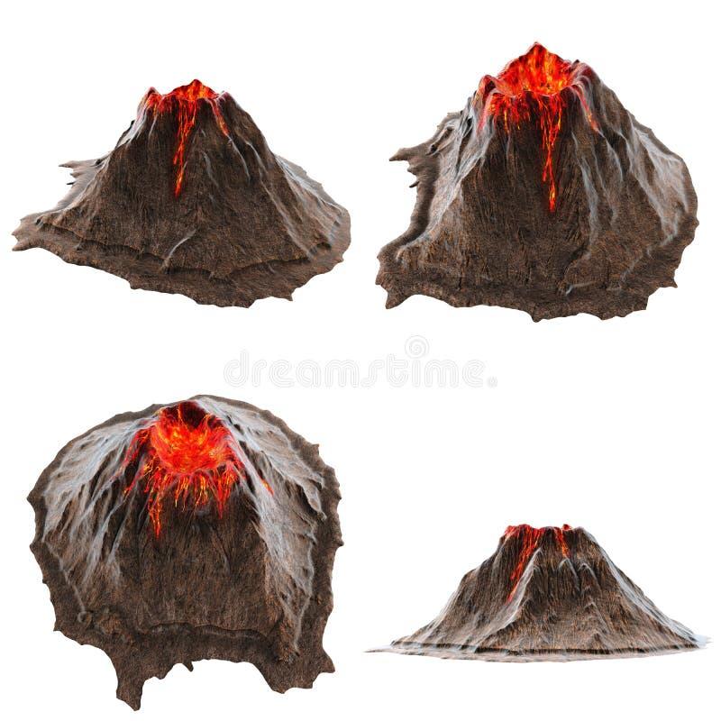 没有烟的火山熔岩在isolatedbackground 3d例证 图库摄影