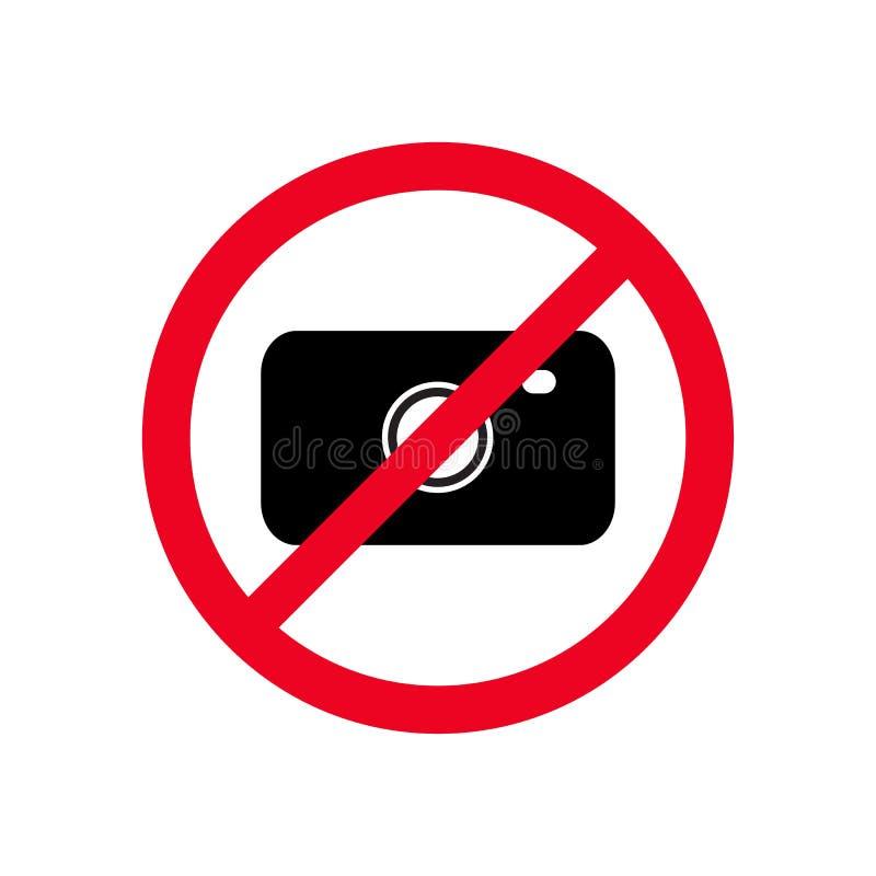 没有照片照相机,没有摄影标志平的象传染媒介illustraion 库存例证