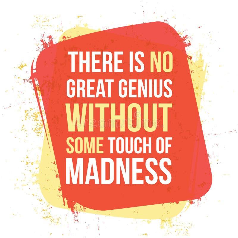 没有疯狂,某一接触没有巨大天才 向量例证