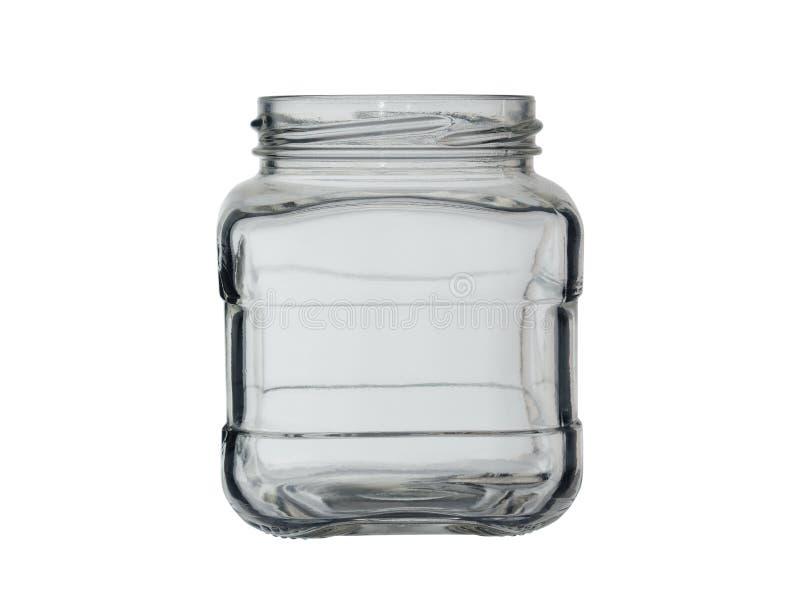 没有盖子的空的玻璃瓶子罐头的 r 库存照片