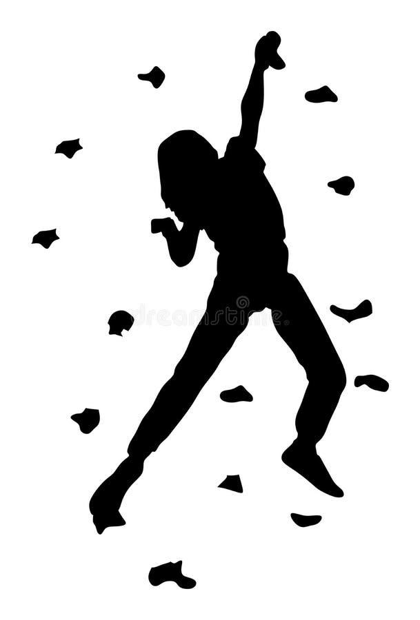 没有绳索的极端运动员攀登 女孩上升的传染媒介剪影,乐趣的岩石墙壁 皇族释放例证