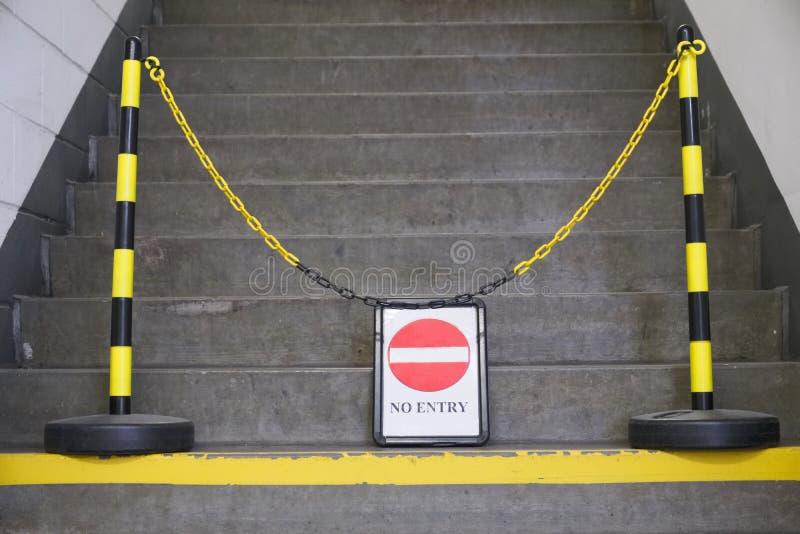 没有词条标志和黄色链子在台阶步前面 免版税库存照片