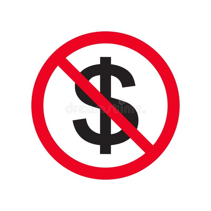 没有金钱平的传染媒介象没有现金 红色禁止标志 停止腐败在白色背景例证的标志孤立 向量例证