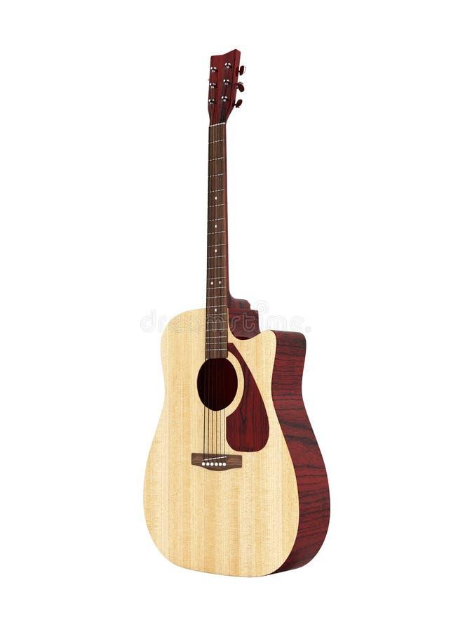 没有阴影的声学吉他在白色背景3d 向量例证