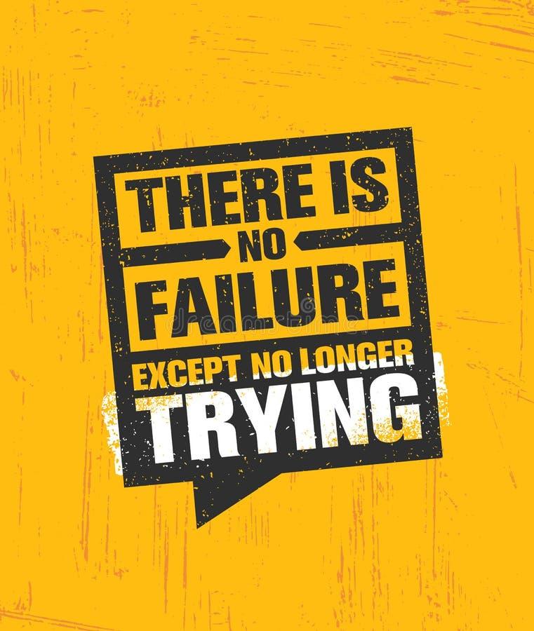 没有除了不再尝试的失败 富启示性的创造性的刺激行情海报模板 传染媒介印刷术 库存例证