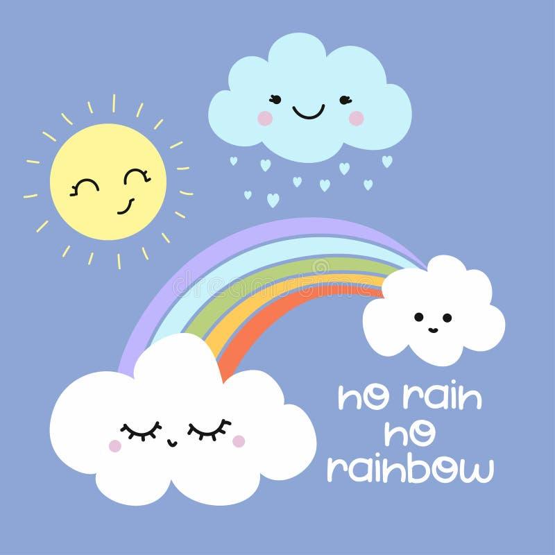 没有雨没有彩虹-逗人喜爱的彩虹装饰 皇族释放例证