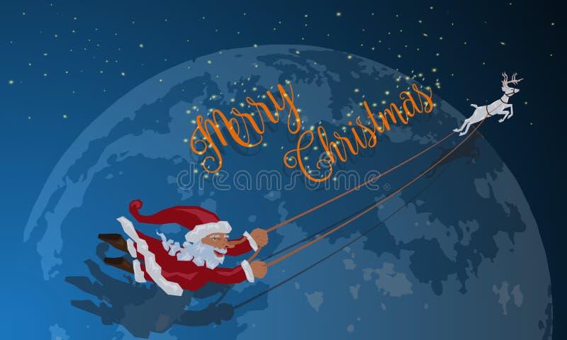 没有雪橇飞行的圣诞老人与鹿冬天夜 库存例证