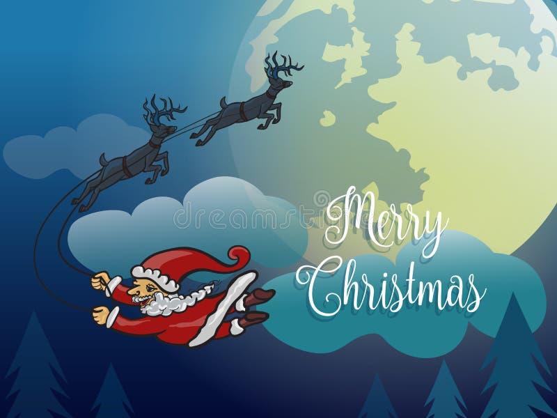 没有雪橇飞行的圣诞老人与鹿冬天夜 向量例证