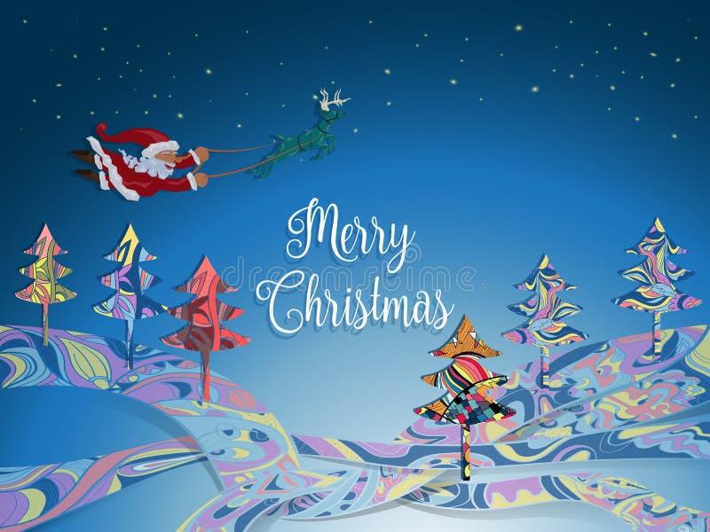没有雪橇飞行的圣诞老人与鹿在c的冬天夜 库存例证