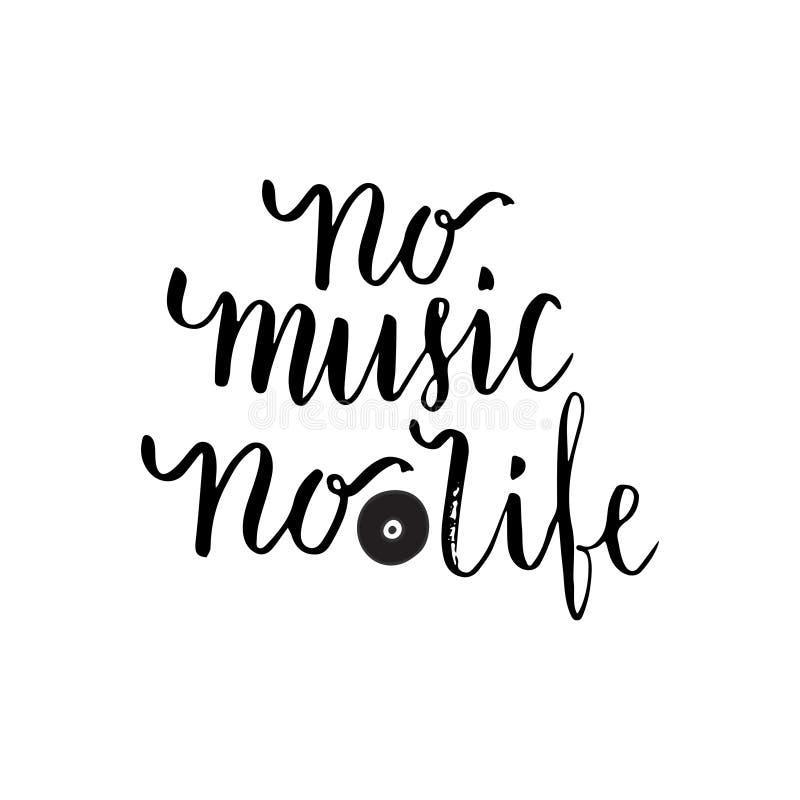 没有音乐关于音乐的没有生活激动人心的行情 音乐学院或贺卡的字法海报 传染媒介词组 库存例证