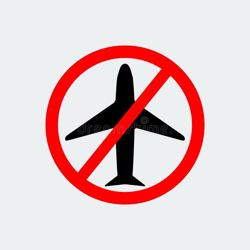 没有飞机象中止标志 也corel凹道例证向量 库存例证