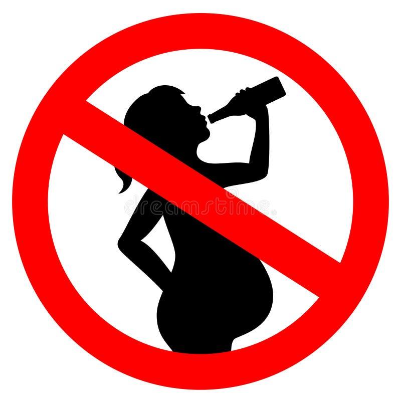 没有饮用的酒精,当怀孕的传染媒介标志时 库存例证
