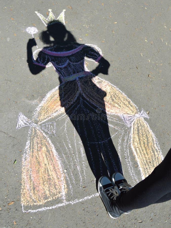 沥青的阴影公主。 库存照片