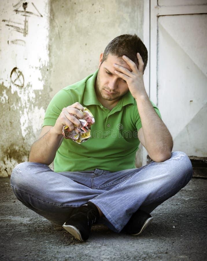 沮丧的人年轻人 库存图片