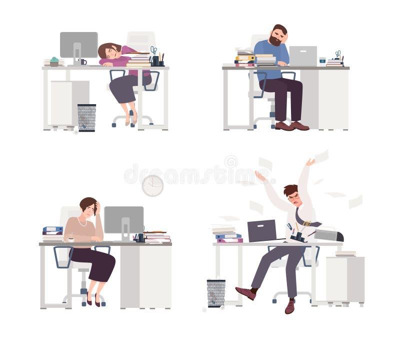 沮丧的人的汇集在工作 疲乏的男性和女性办公室工作者坐,睡觉或者表示愤怒在 库存例证