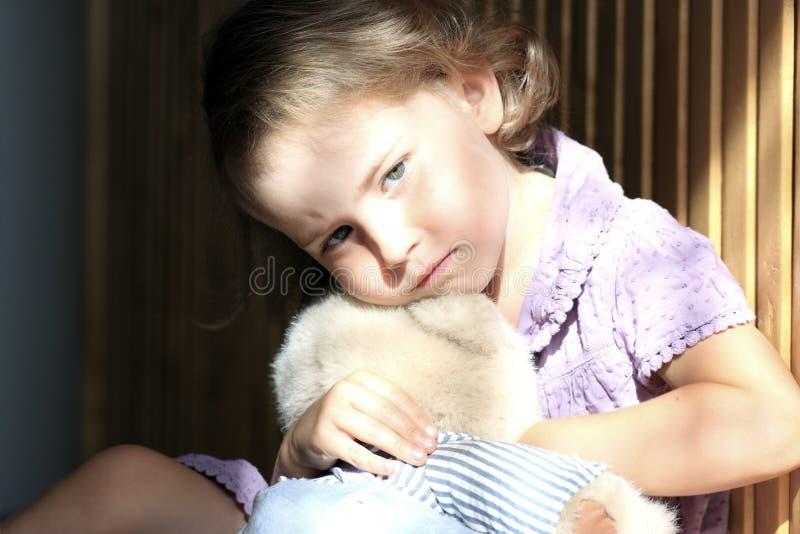 沮丧的女孩一点 图库摄影