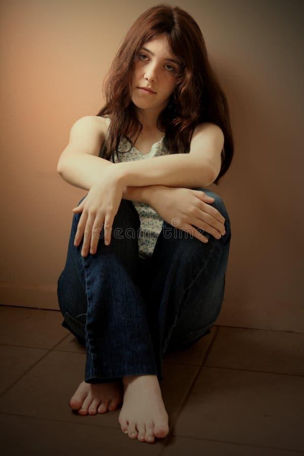 沮丧的女孩哀伤青少年 图库摄影