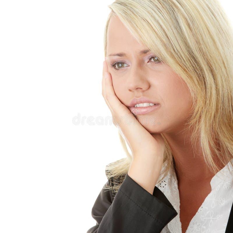 沮丧的女性照片 免版税库存照片