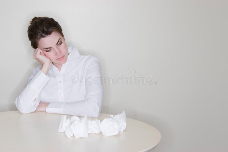 沮丧的妇女工作 库存照片