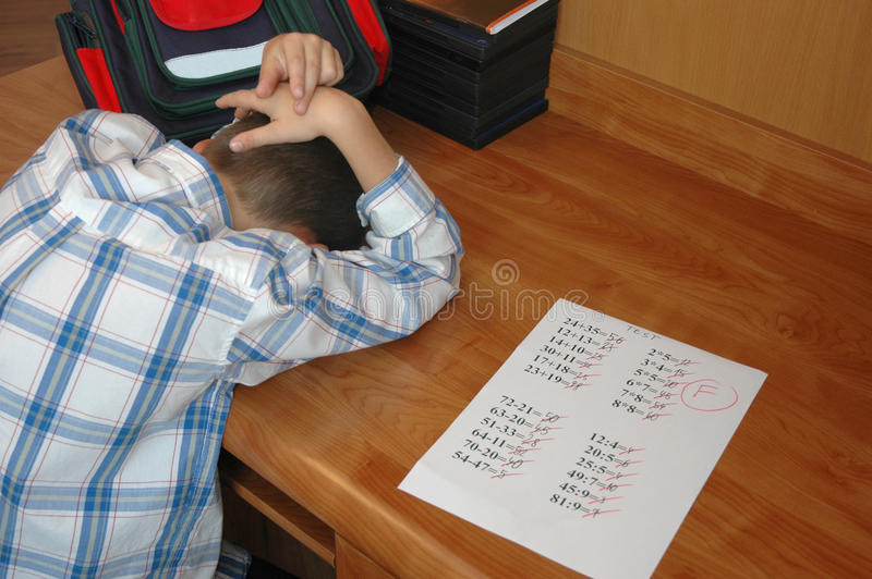 沮丧的学员 免版税库存图片