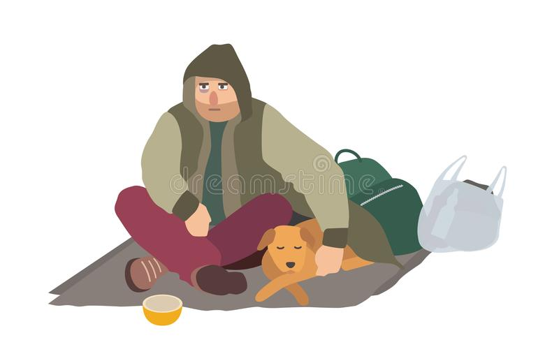 沮丧的无家可归的人在肮脏的衣裳穿戴了坐在街道上的纸盒席子,拥抱睡觉狗和乞求为 向量例证