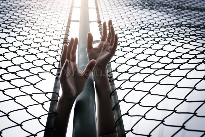 沮丧,麻烦、帮助和机会 培养移交链子链接篱芭的绝望的妇女请求帮忙 图库摄影