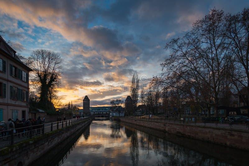 河不适运河在La小的法国区在Strasb 免版税库存照片