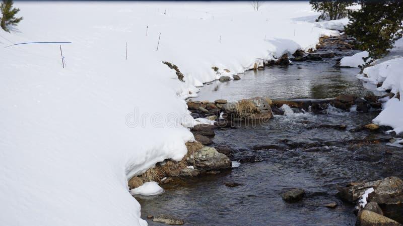 河与雪 免版税库存图片