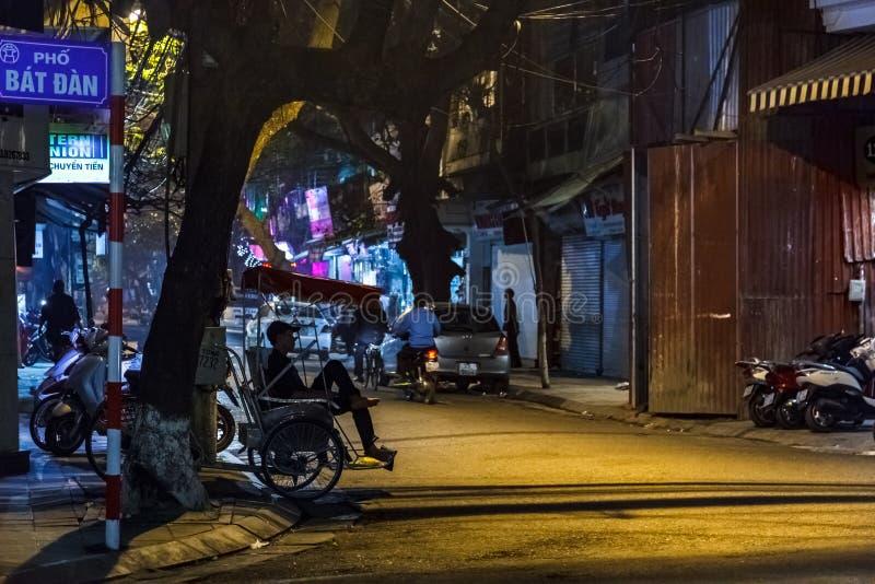 河内在晚上,越南的首都 库存图片