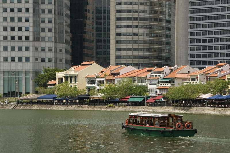 河出租汽车,小船奎伊,新加坡 免版税图库摄影