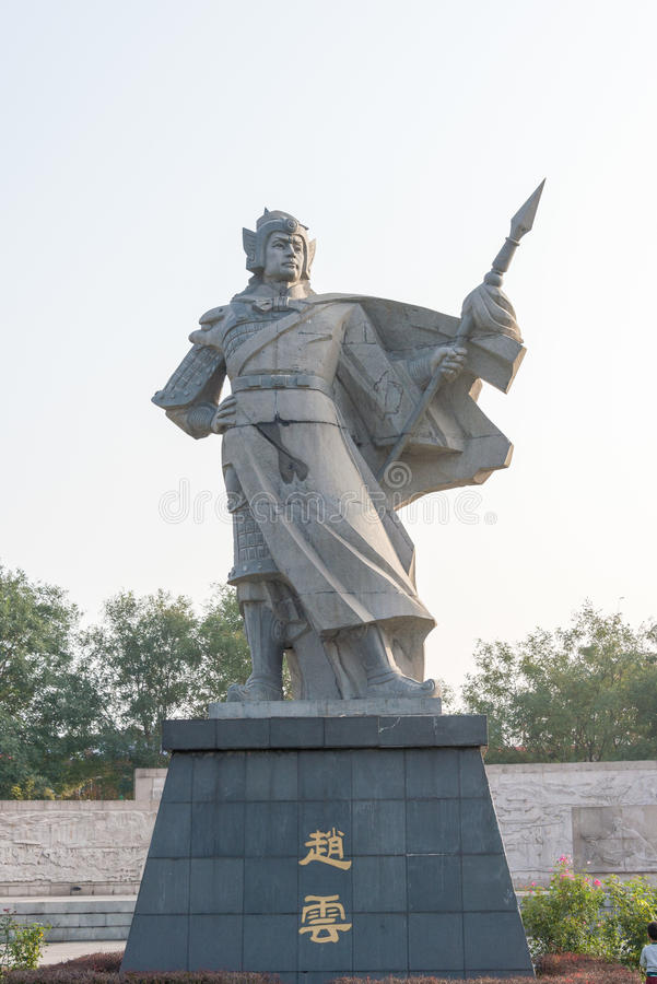 河北,中国- 2015年10月23日:在子龙广场的赵云雕象 库存照片