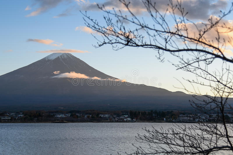 河口湖的,日本富士山 免版税库存照片