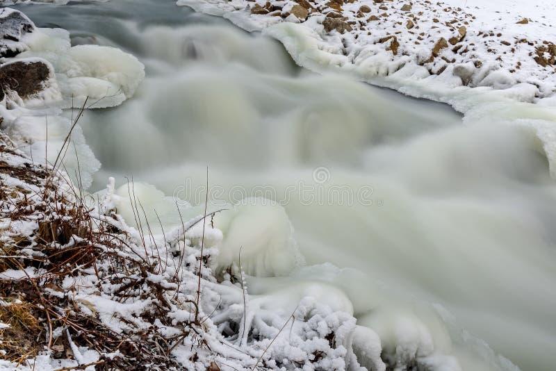 河向雪冰急流扔石头 免版税库存图片