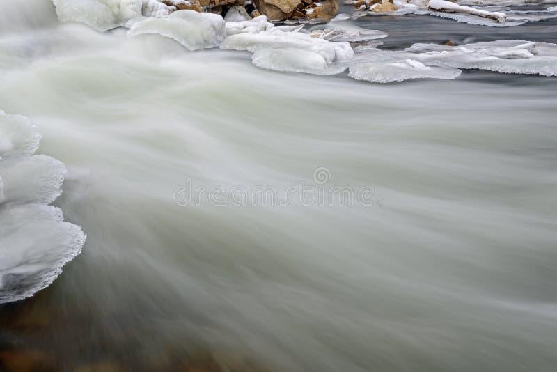 河向雪冰急流扔石头 库存照片