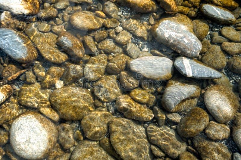 河和岩石水平的背景与淡光和反射 库存图片