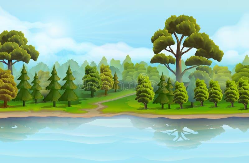 河和森林 向量例证