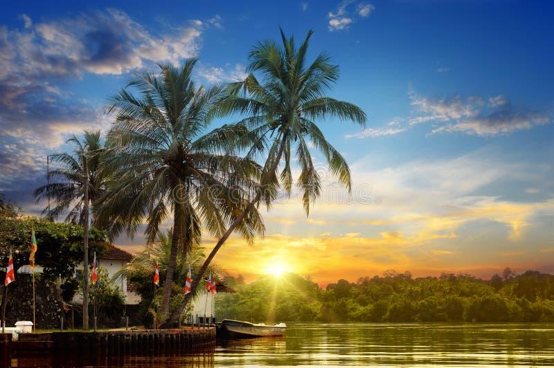 河和美好的日出 免版税图库摄影