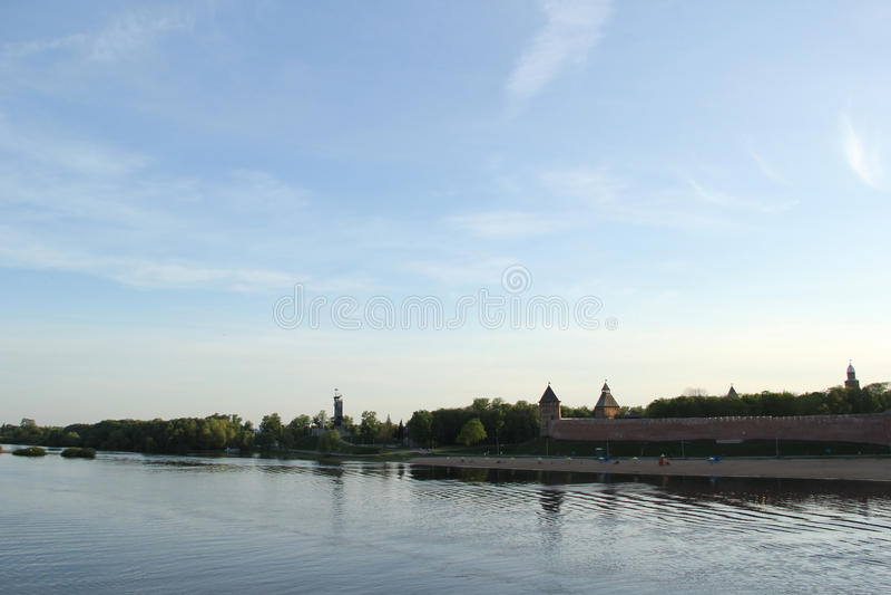 河在大诺夫哥罗德 免版税图库摄影