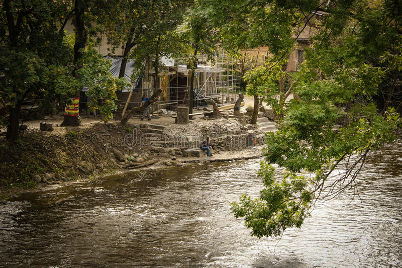 河在维尔纽斯 图库摄影