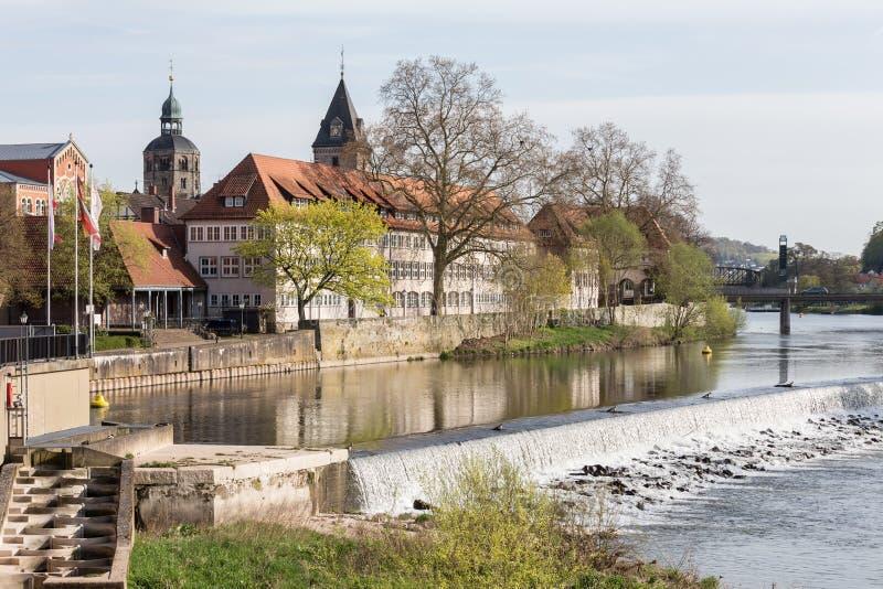 河场面历史的城市hameln德国 免版税库存图片