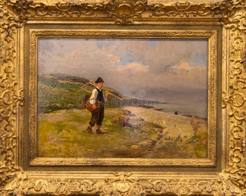 河岸的年轻渔夫卡米耶・毕沙罗 库存图片