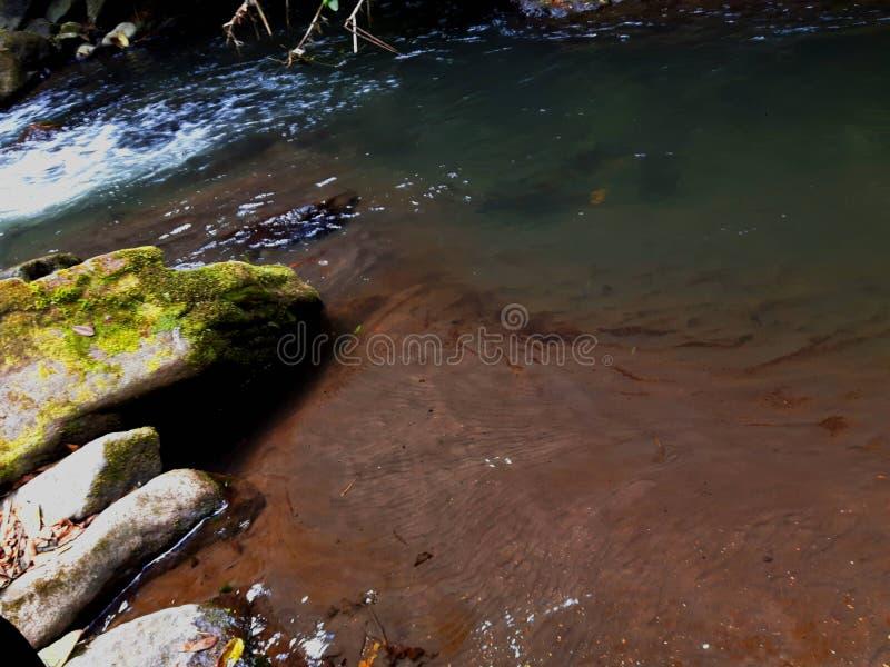 河岸 沙子、水和岩石 图库摄影