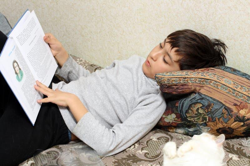 河床书男孩猫读取 免版税库存图片
