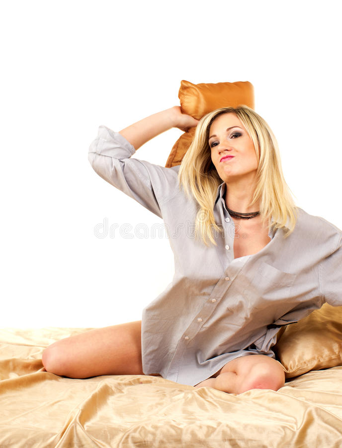 河床金发碧眼的女人妇女 免版税图库摄影