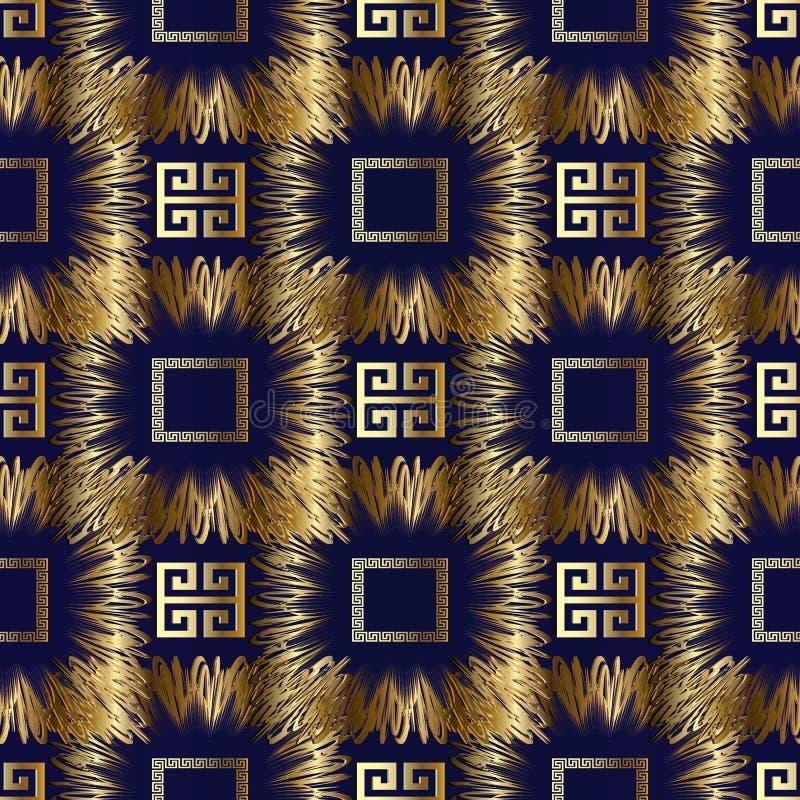 河曲希腊关键传染媒介3d无缝的样式 抽象几何 库存例证